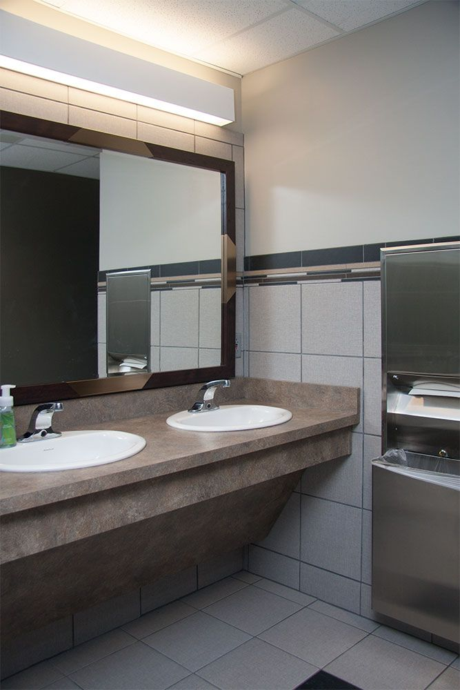 commercial bathroom that we did passow remodeling pinterest commercial sink skirt and office spaces