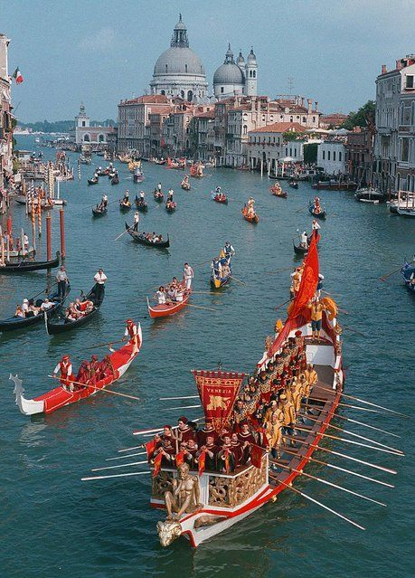 Historical Regata , first Sunday of September. In the background the Basilica della Salute, Venice