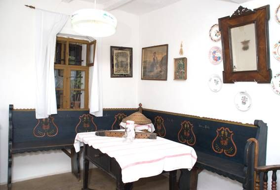 Traditional Hungarian painted wood dining room
