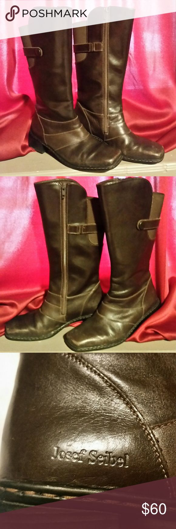 Josef Seibel Brown Leather Boots Size~40 In good used condition. Some scuffs, I have not polished them. Serial # in photo 5. These need a good home, been in my closet with 1000 other boots. Josef Seibel Shoes Heeled Boots