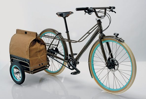 From NY Times:  A hybrid bike called the Fremont. Conceived by the design firm Ziba and Signal Cycles, this cargo bike features a small side trailer that holds an expandable, Filson-like canvas satchel. Go to ziba.com/thefremont.