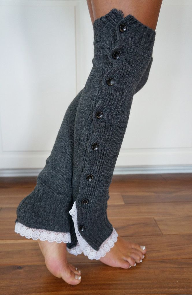 CLOSEOUT!  NOW ONLY $8.99!  Boot Cozies™ Legwarmers - Charcoal grey is one of our favorite colors. The smokey color pairs so nicely with black leggings.