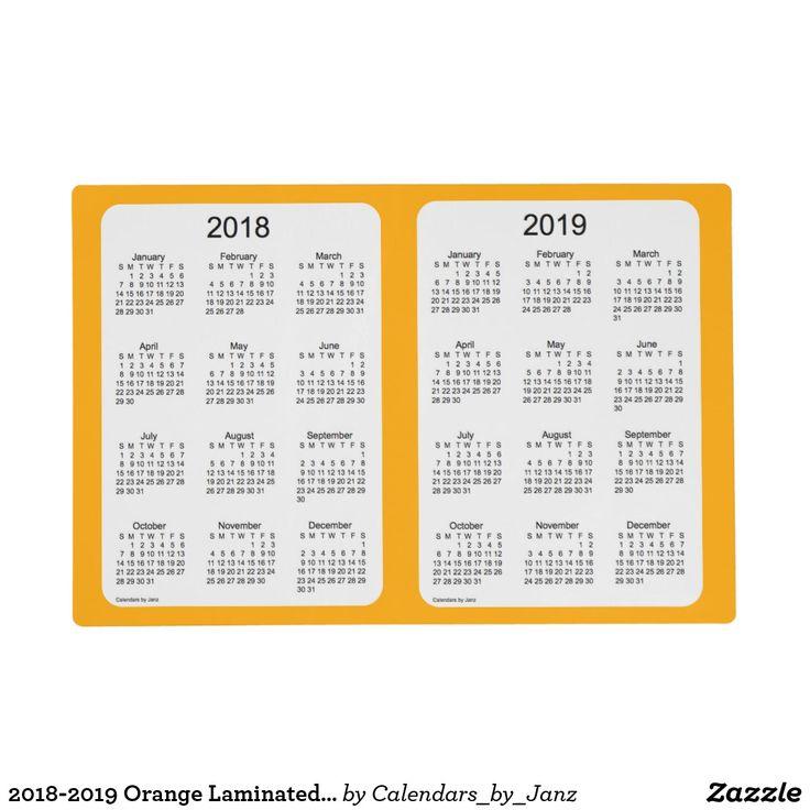 2018-2019 Orange Laminated Calendar by Janz Placemat