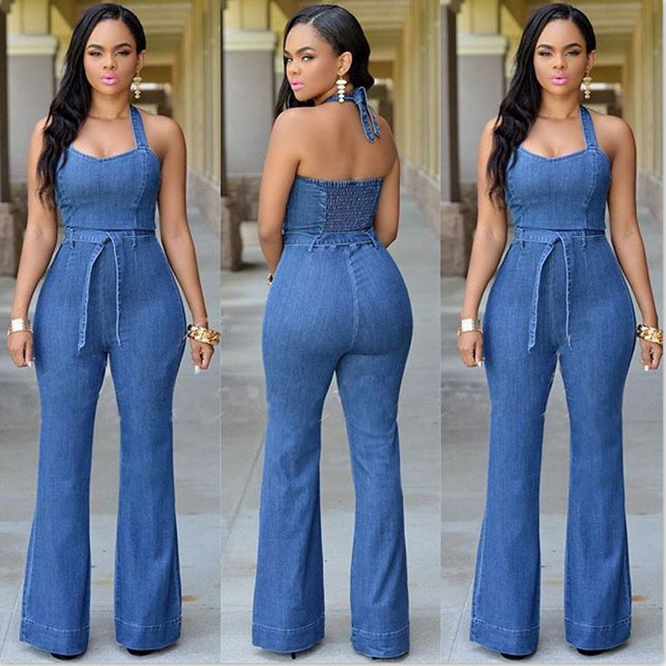 New 2016 S-XL Top Quality Women Girls Washed Jeans Denim Casual Hole Jumpsuit Romper Overalls Light Blue Jeans Long Pants