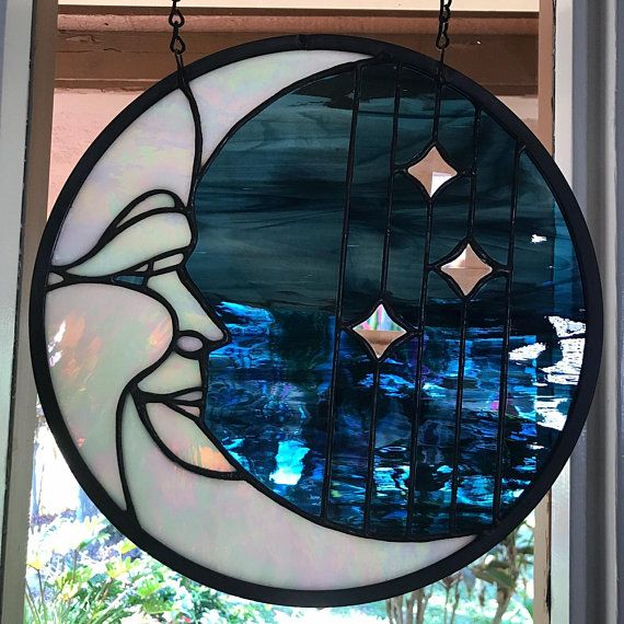 Stained glass Man in the moon Man in the moon stained glass moon suncatcher suncatcher