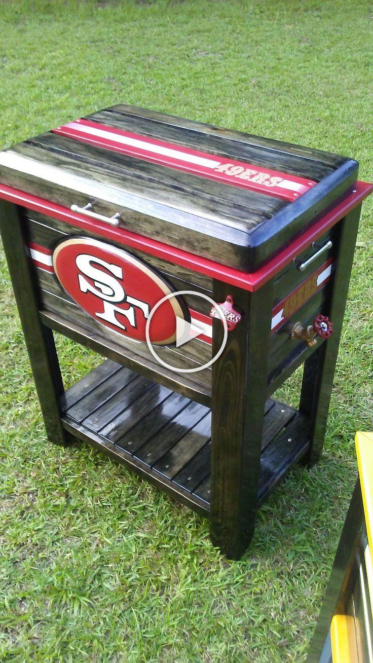 49ers Wooden Cooler 48qt in 2020 Wooden cooler, Wooden