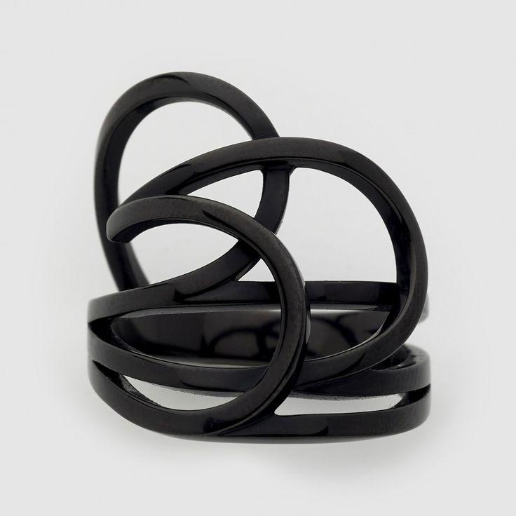Repossi Layered Ring La Ligne C Flat Type (Black)