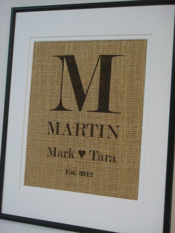 Personalized Burlap Monogram Family name by burlapartbyelizabeth, $20.00