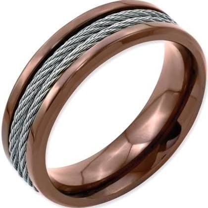 Stainless Steel Ridged Edge Chocolate IP Plated W Cable Band