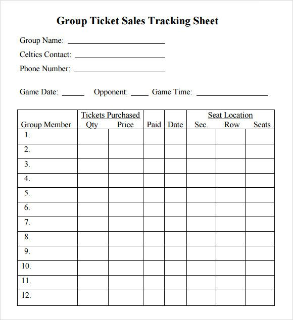 Ticket Sales Tracking Sheet Google Search Ticket Sales Sample
