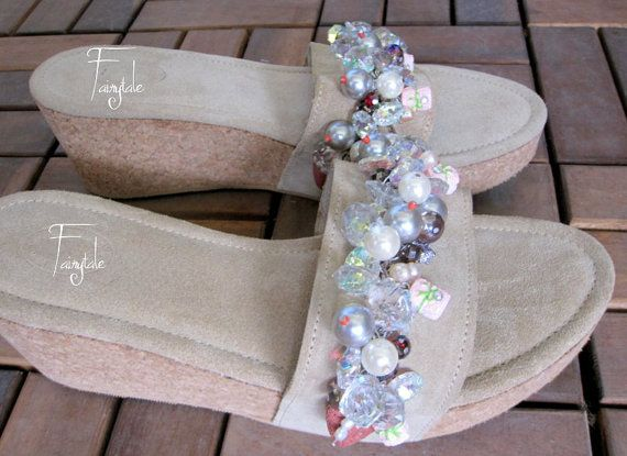 Candy  High heeled Leather sandals  Wedges by sivylla on Etsy