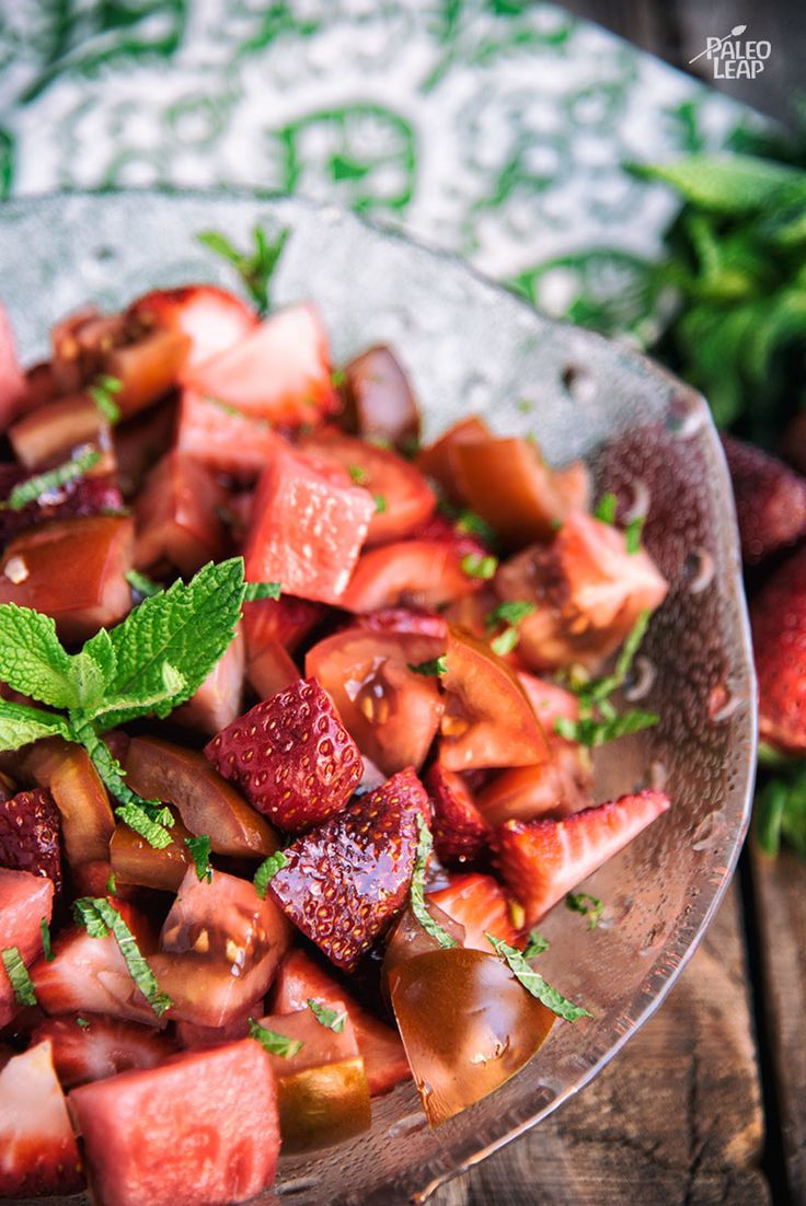 Watermelon, Strawberry and Tomato Salad - Tomato works surprisingly well in this fresh summer salad: after all, it is technically a fruit! #Paleo #Vegetarian #Whole30