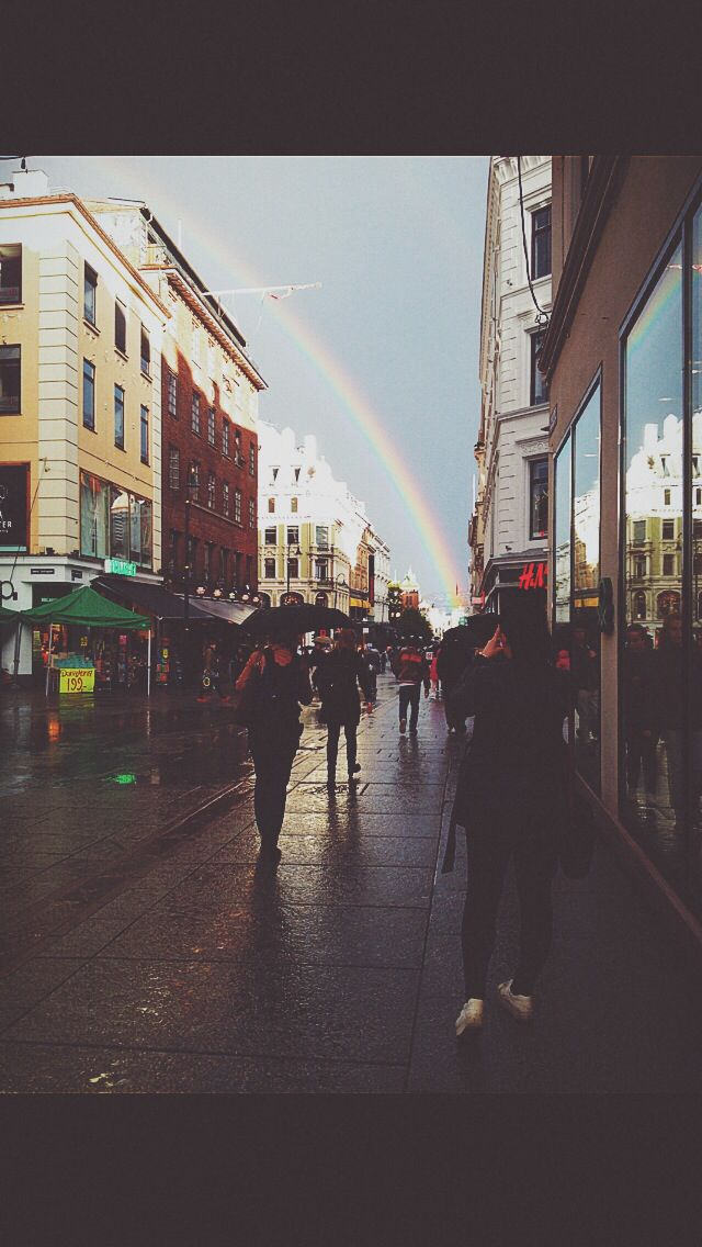 Sunshine in the rain . Oslo september . We found the rainbow, Oslo Main street Karl Johan