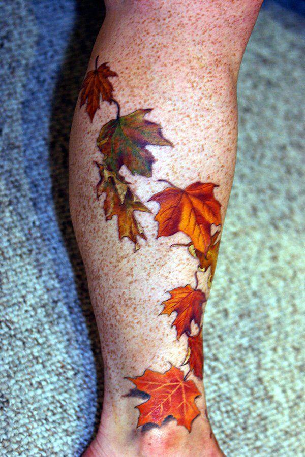 12 fall leaves tattoo
