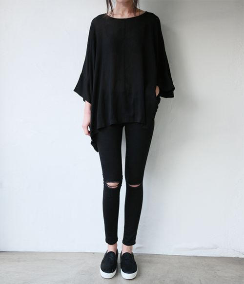*black, ripped jeans, black slip on sneakers