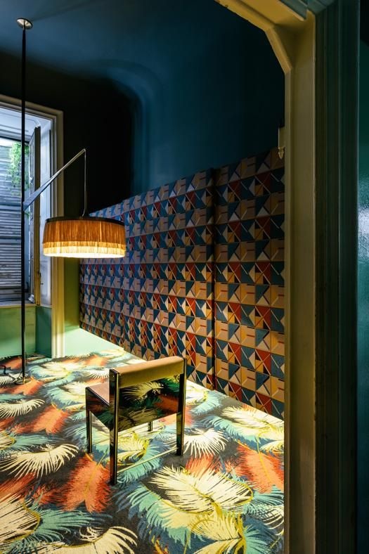 Dimore Studio Gallery, Salone del Mobile, Milan. Wonderful customized carpet by Pierre Frey.