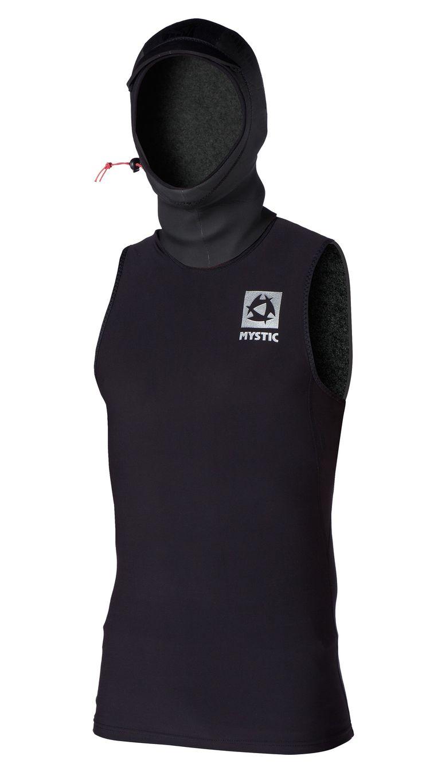 Mystic Bipoly Hooded Tanktop :   Top néoprène avec capuche, sans manches.  Idéal pour mettre sous la combinaison en hiver, la capuche évite les entrées d'eau dans le coup et maintien la tête au chaud.