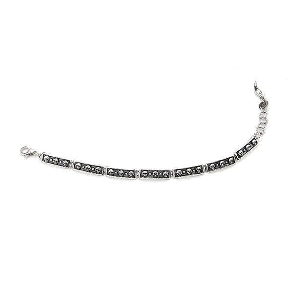 Bracciale da uomo in argento con teschi di Giovanni Raspini.  Acquistalo subito su ScintilleShop.com!  #bracciale #uomo #argento #teschi #teschio #raspini
