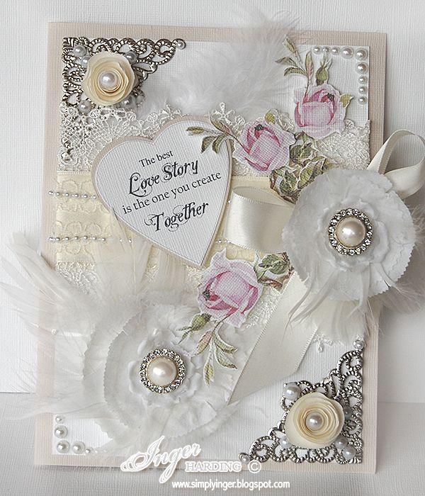 Shabby Chic Wedding Card by Inger Harding