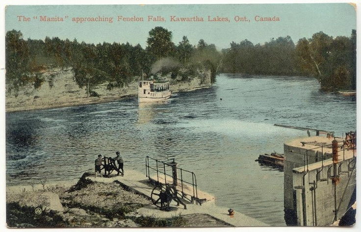 """circa 1908 ( guessing ) ... Steamer """" MANITA """" approaching the lock ... notice the hand cranking being done by the two men"""