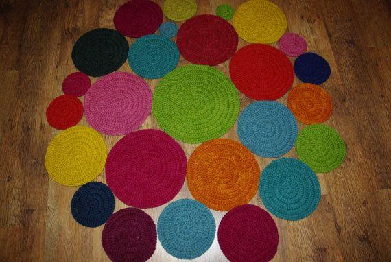 Crochet round rug 55'' 140 cm/Crochet by AnuszkaDesign on Etsy, $140.00