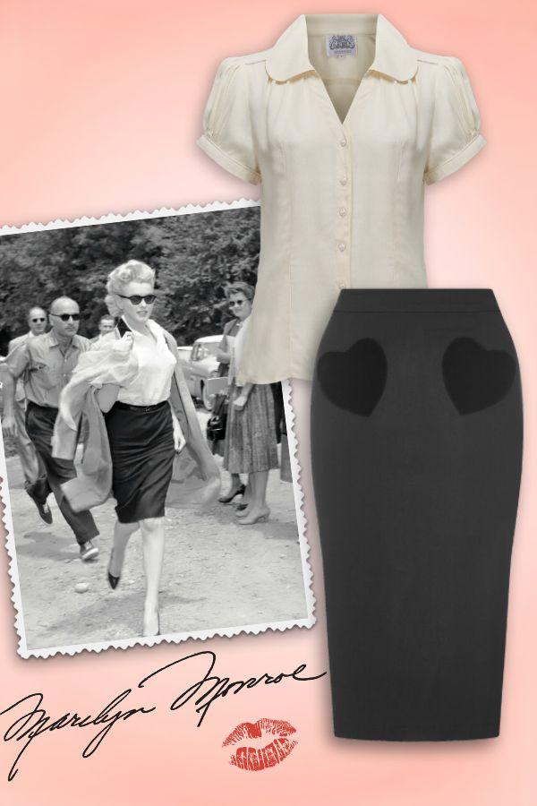 Dress like Marilyn! Jupe crayon Violetta Velvet Heart + chemisier The Seamstress Of Bloomsbury crepe blouse ♥ MissRetroChic.com boutique vintage & glamour