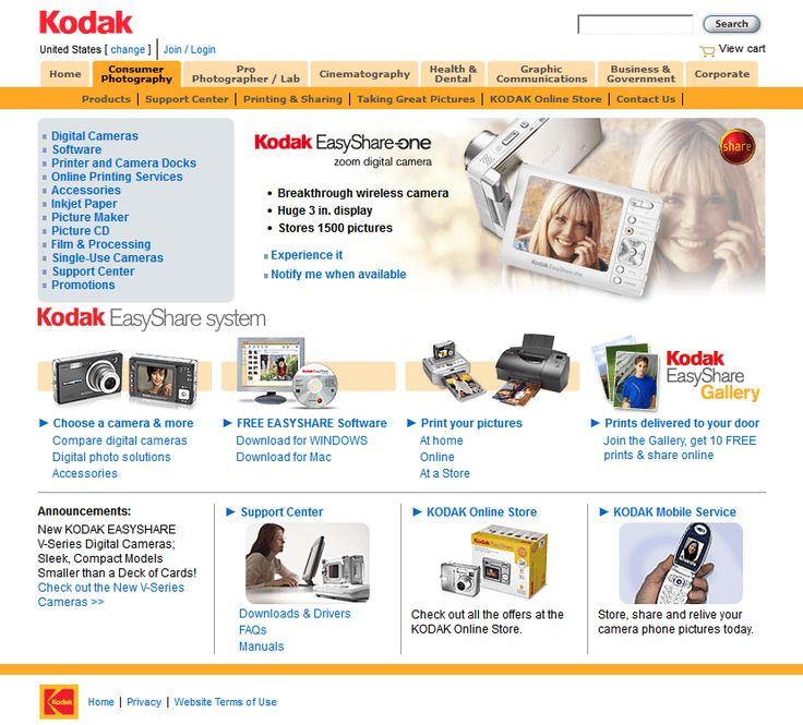 Kodak website in 2005