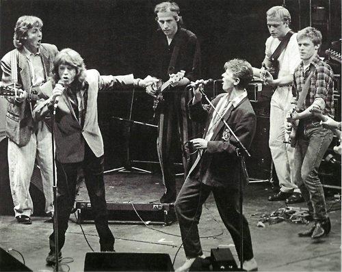 Paul McCartney, Mick Jagger, Mark Knopfler, David Bowie, Mark King and Bryan Adams