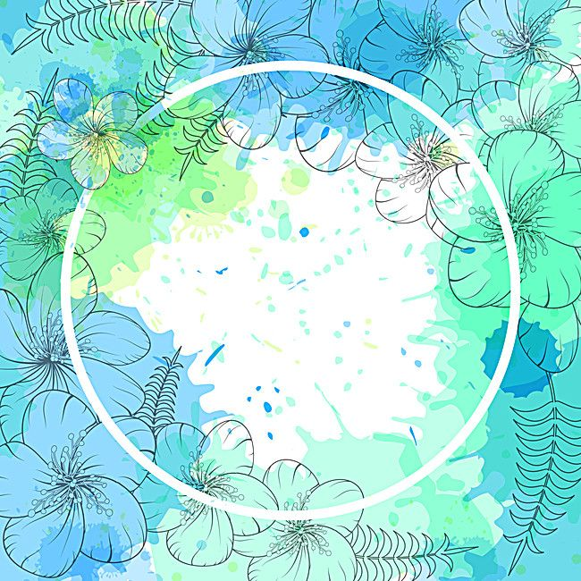 Mint Green Watercolor Blue Flowers Background Material Blue