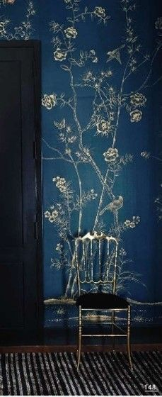 Indigo blue and gold wallpaper/decor ... ... reminds me oddly of the tapestry in 12 Grimmauld Place.