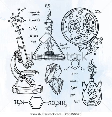 Hand drawn science vintage laboratory icons sketch. Vector illustration. Back to School. Aged education objects doodle sketch. Lab equipment. Biology, geology, alchemy, chemistry, magic, alchemy.