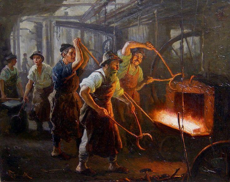 Rudolf Jelinek 1880 - Brünn (Tschechien) / In der Gießerei / Sammlung Schmacke in Antiquitäten & Kunst, Malerei, Gemälde 1900-1949 | eBay!