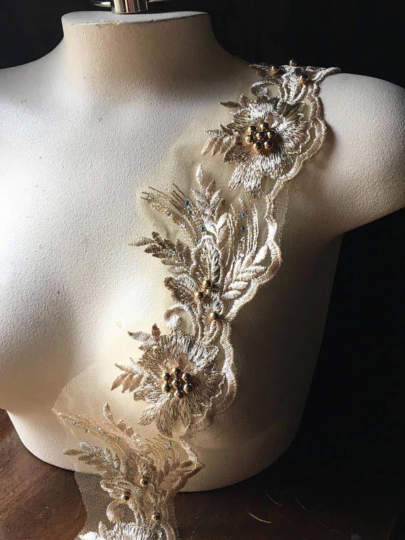 GOLD Lace Scalloped 1 Trim Rhinestones Beaded for Lyrical
