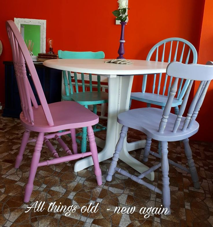 Upcycled and shabbied 4 seater dining setting - for sale $350