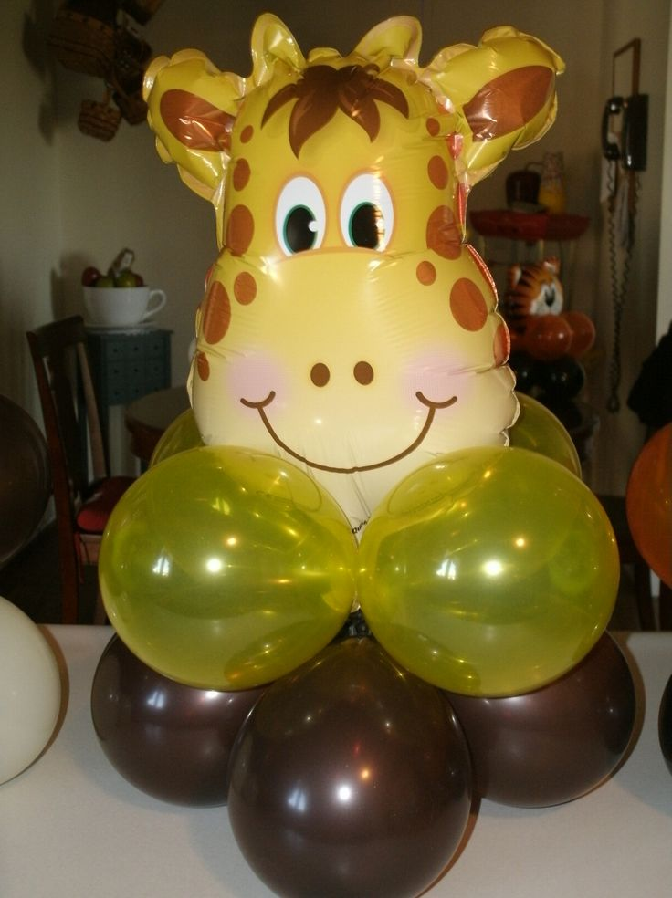 Zoo animal centerpiece for child 39 s birthday party for Animal party decoration