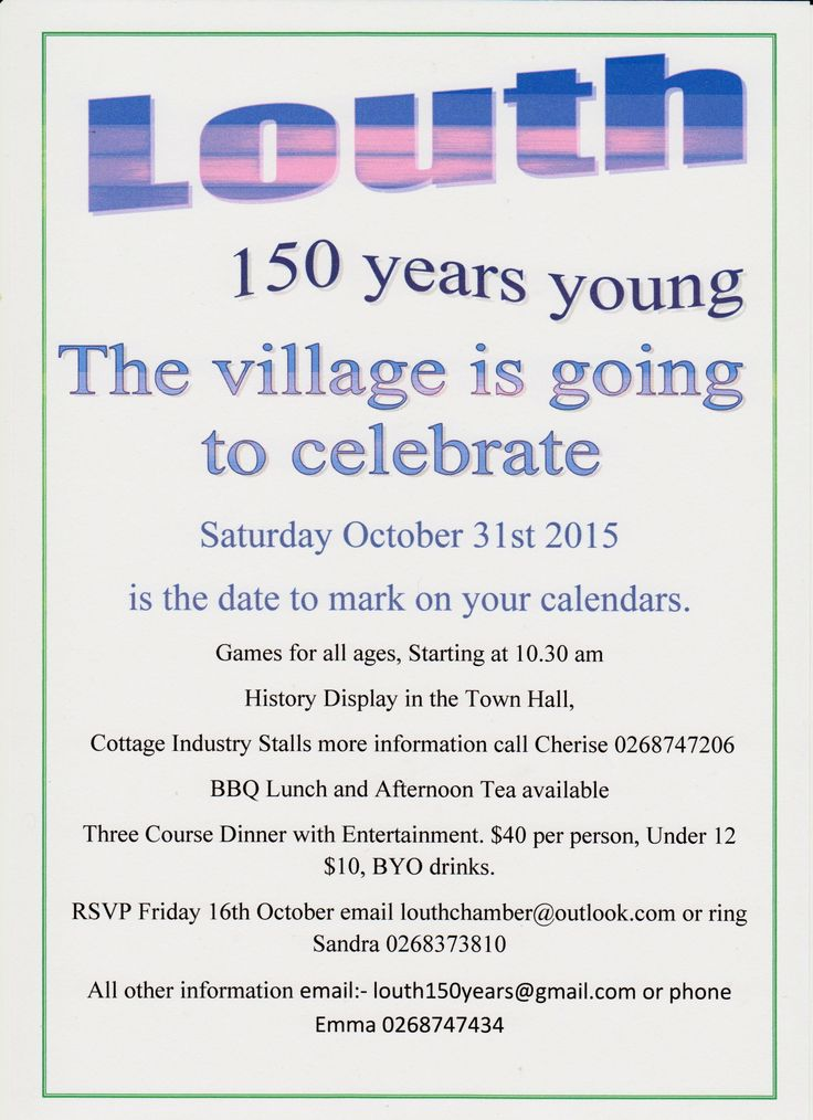 Louth the village celebrates 150 years.