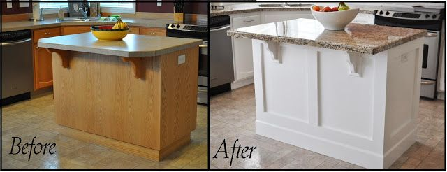 Before and After Island. Add moldings and counter supports to our peninsula before new counter goes on.