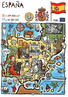 So many more opportunities for flags on this cute poster. Can you spot (besides the big one of Spain) that of the EU, France and Portugal? What other flags could be shown here?
