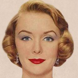 A typical 1950s makeup - neutral base, red lips, strong brows, upper eye liner and mascara, soft grey-blue shadow taken out to the sides