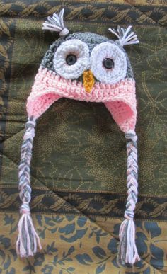 Owl Hat Pattern is available for free in newborn to adult sizes.