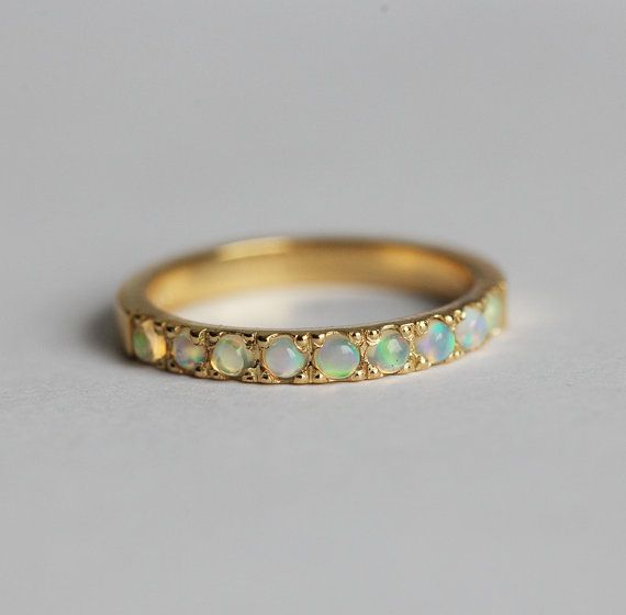 Opal Cabochon Ring Ehering Opal Opal Ehering ebnen von MinimalVS