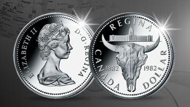 Kanadské stříbrné dolary - Oficiální stříbrný kanadský dolar Bizon (1982) připomíná sté výročí založení Reginy, hlavního města území Saskatchewan, jehož symbolem je právě toto zvíře.
