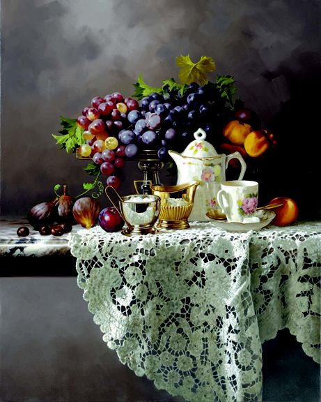 MORNING TEA by Rino Gonzalez  24x40 oil on canvas.   Amazing realism! #realism #art #tea