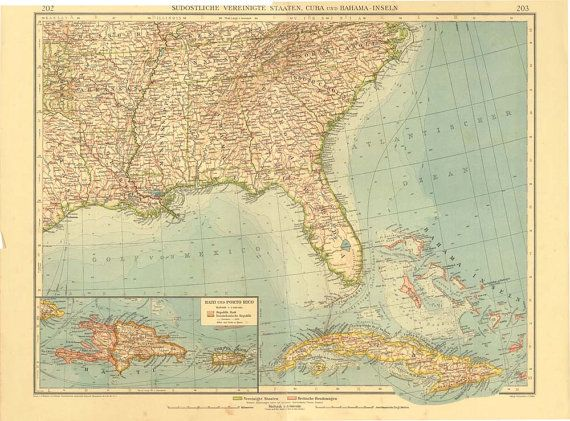 Best Vintage Maps Images On Pinterest Vintage Maps Antique - Map of cuba and southeast us