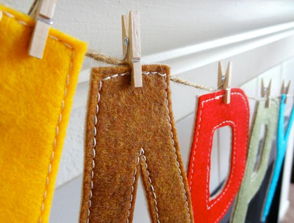 This cute word garland made from felt is intended for holidays and special occasions, but in pretty color combos and with an inspirational word or two, it could also make great year-round decor.