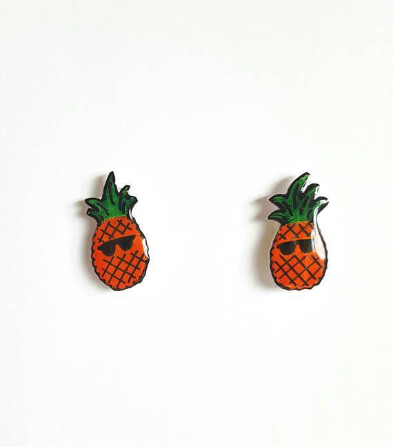Cool Pineapple Stud Earrings Shrink Plastic Cute Gift