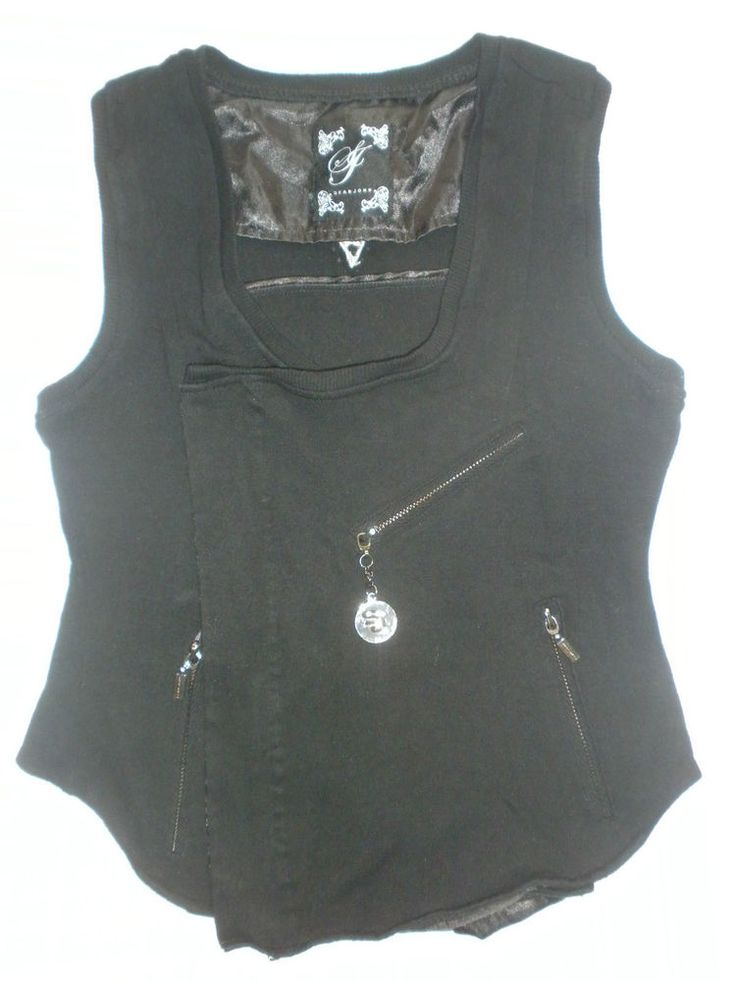 Sean John Designer Black Rhinestones Emo Punk Rock Goth Clothes Vest  M L #SeanJohn