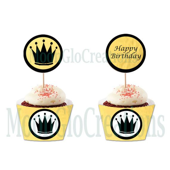 Princess cupcake toppers . Happy Birthday Gold by MoonGloCreations