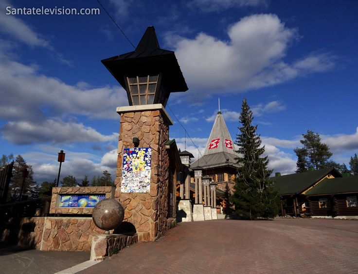 Arctic Circle in Santa Claus Village in Rovaniemi in Finland during summer-time