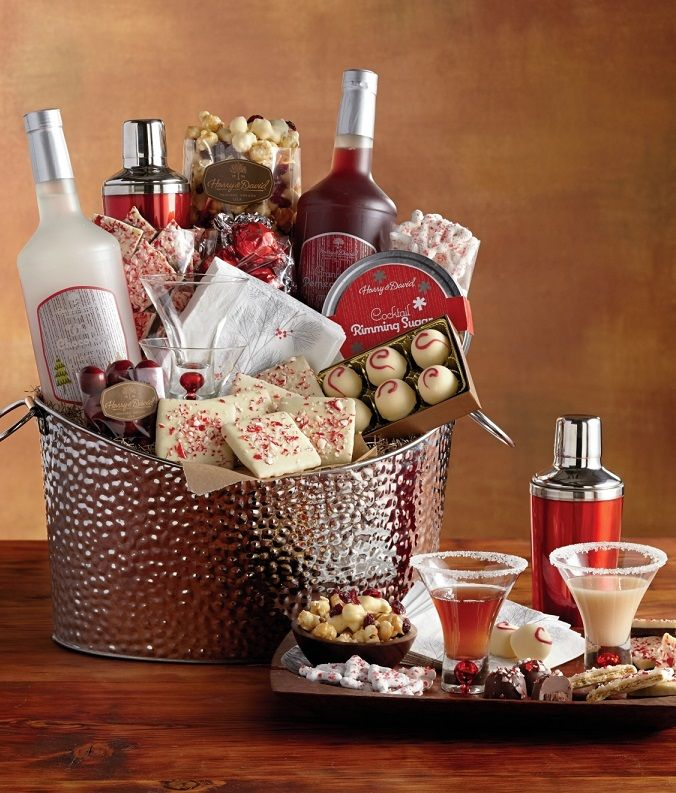 This stunning cocktail mixer set has everything you need for a sophisticated holiday party. Martini mix, white chocolate truffles, and peppermint bark just to name a few.